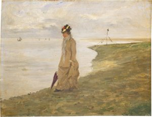 old painting of woman walking along a shore illustrating an article on creative writing activities