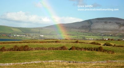 end of a galway rainbow - illustrating an article about writing fiction