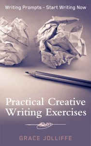 Book cover - Practical Creative Writing Exercises by Grace Jolliffe illustrating an article about illustrating an article about Halloween and other scary stuff - for writers