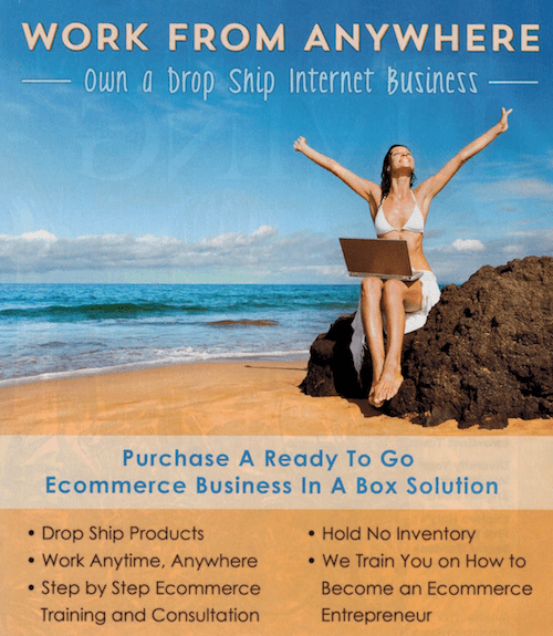 Many ads, like this one from a magazine, falsely claim that drop shipping is easy and easy to make money.