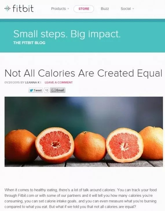 Since many users of Fitbit are trying to lose or maintain weight, topics about foods, drinks, and daily activities cater to the company's target audience.