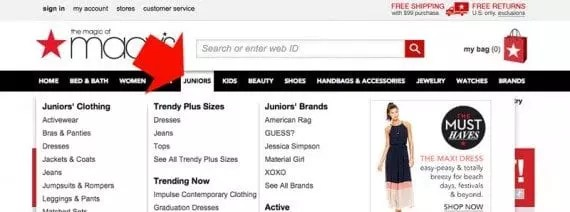 Top-level navigation labels are active links on the Macy's website.