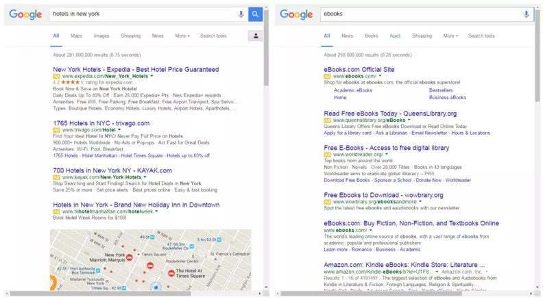 Two examples of the new search results pages with four text ads at the top of each.