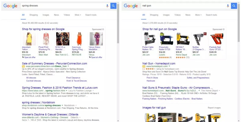 """Typical high-value ecommerce search results — for """"spring dresses"""" and """"nail gun"""" — with a mix of paid and organic elements."""