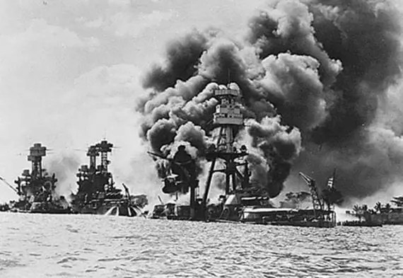 December 7 is National Pearl Harbor Remembrance Day. The photo above is the aftermath of the Japanese attack on Pearl Harbor on December 7, 1941. Left to right: USS West Virginia, USS Tennessee, and USS Arizona. Source: Franklin Roosevelt Library via the National Archives.
