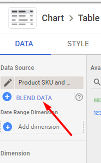 """Blend data sources together by clicking """"BLEND DATA."""""""