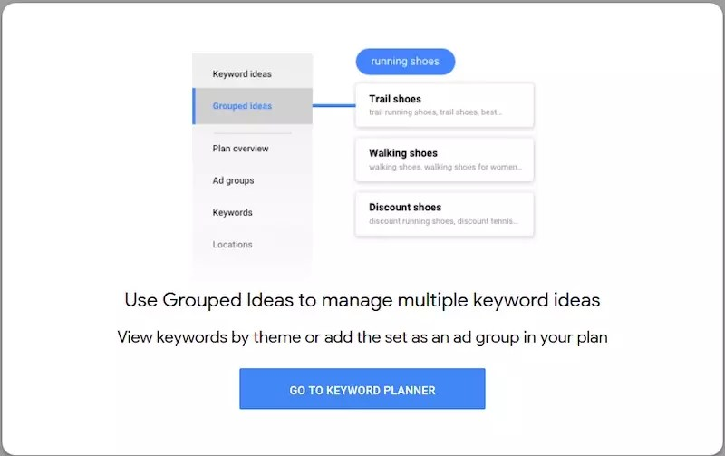 """Using """"Grouped Ideas,"""" one can see combined keyword suggestions."""