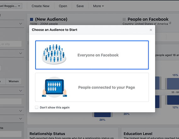 "For generating content marketing ideas, select ""Everyone on Facebook."""