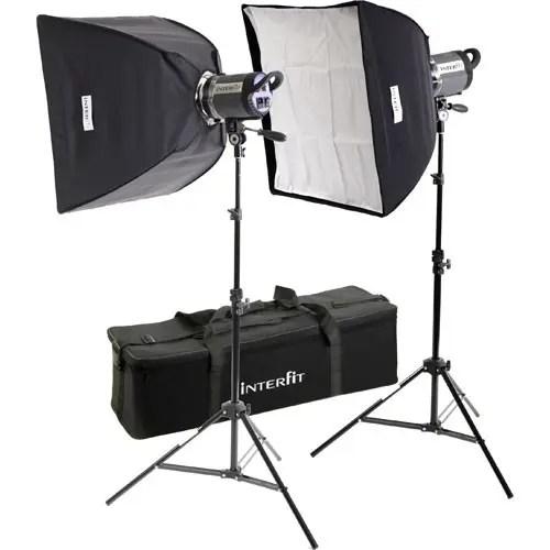 Image de B&H Photo du kit de boîte à lumière stellaire à deux lampes en tungstène avec deux lumières Interfit