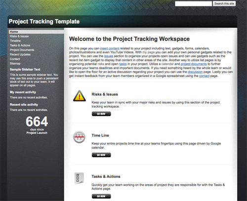 Project Tracking Template.