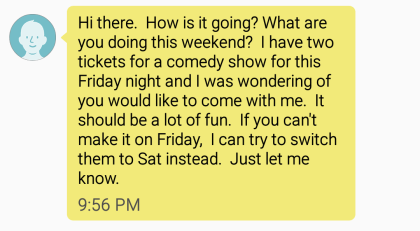 long beta text message to a girl