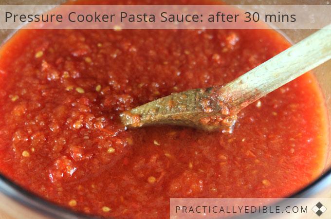 Pressure Cooker Pasta Sauce after 30 mins