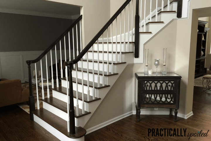 How To Gel Stain *Gly Oak Banisters   Oak Handrail White Spindles   Stair Square Spindle   Staircase   Switchback Stair   Goes Golden Oak Staircase   Replacement