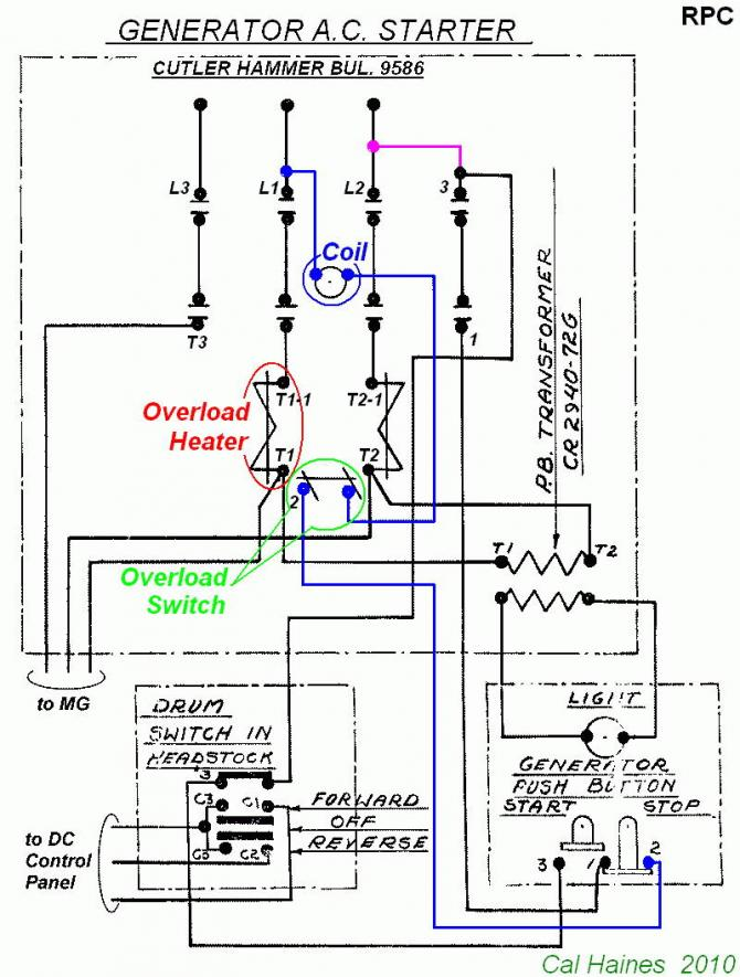 single phase start stop switch wiring diagram 220v dryer plug 10ee mg starter circuit with cutler-hammer contactor - revised