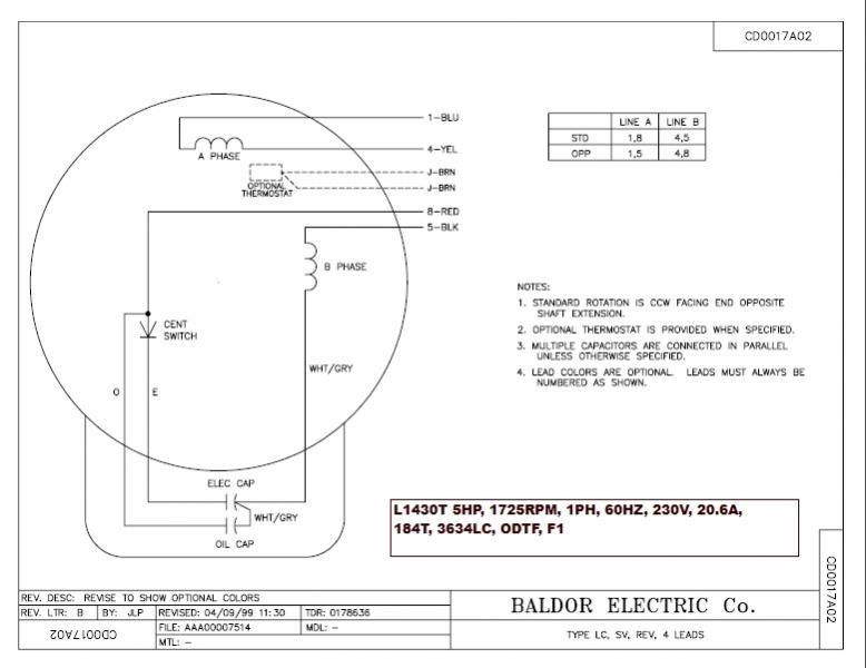 General Electric Single Phase Motor Wiring Diagram On General
