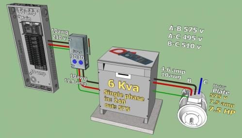 small resolution of 240 v to 575 v 3 phase converter project rotophase jpg build a phase converter wiring diagram