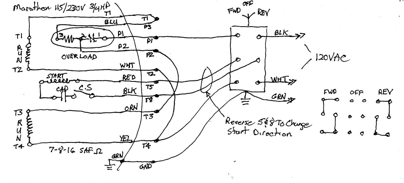 Marathon Single Phase Motor Wiring Diagram Reversing : 52