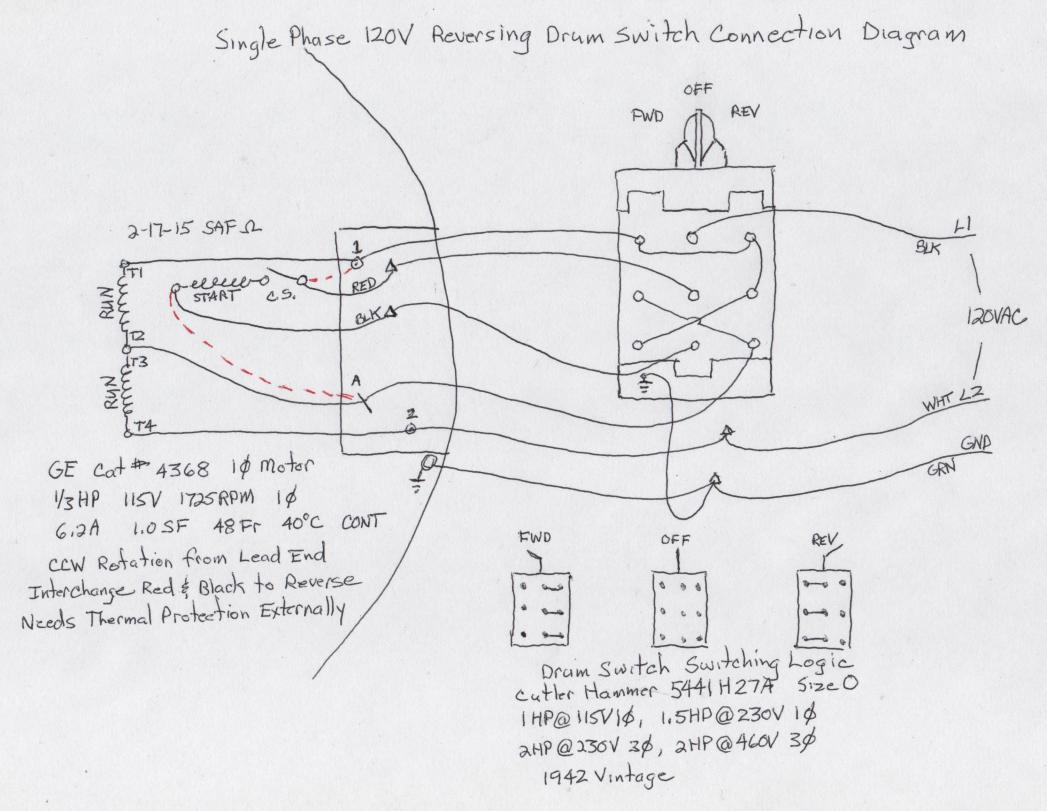 drum switch single phase motor wiring diagram latching contactor help with a for 220v