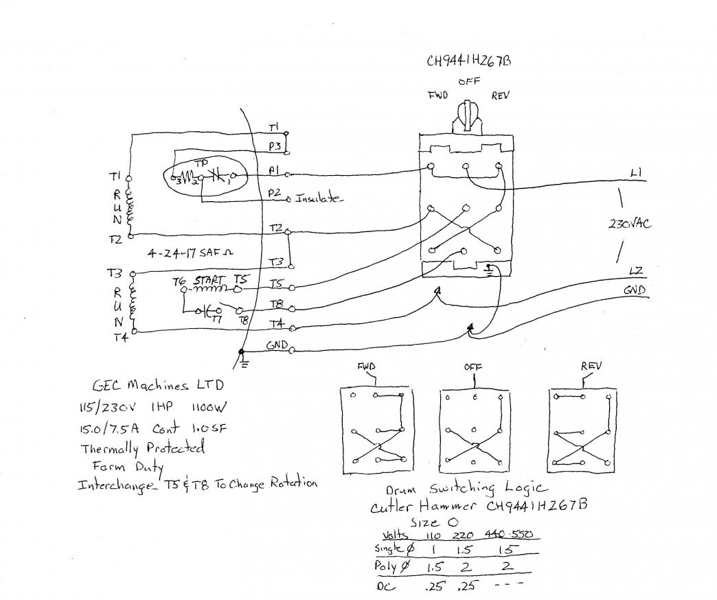 hight resolution of 220 440 motor wiring diagram wiring library how to wire a baldor l3514 to a 6 pole drum switch single phase 1100 x