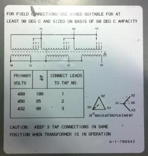 OT  208V Three Phase Transformer Question