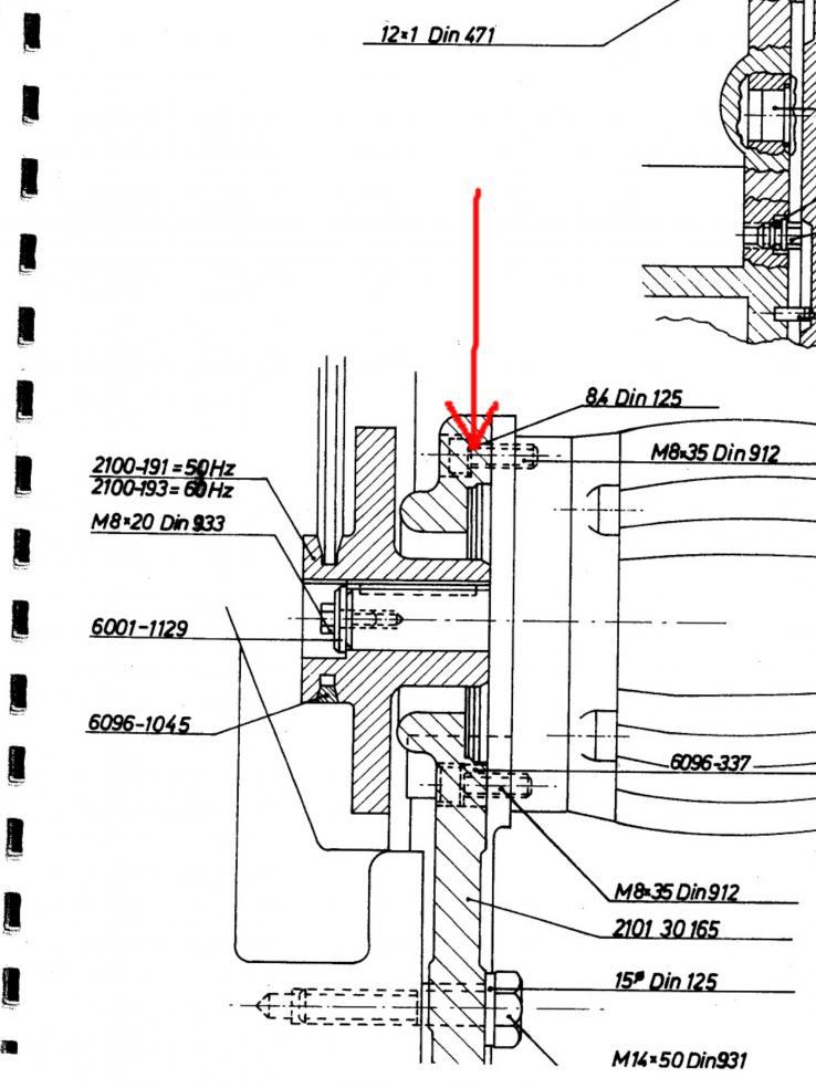 Deckel FP1 motor hanging down