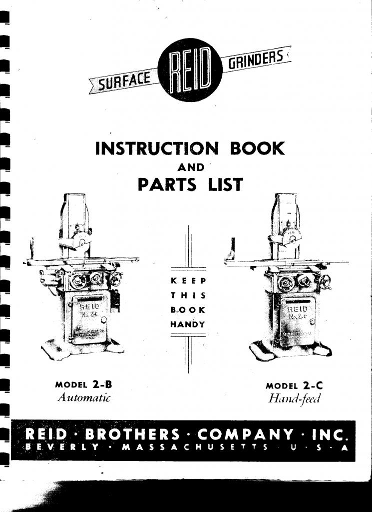 Manual for Reid 2C surface grinder?