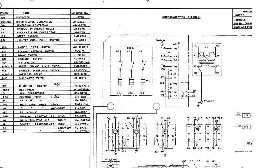 Hardinge lathe control transformer secondary connection.