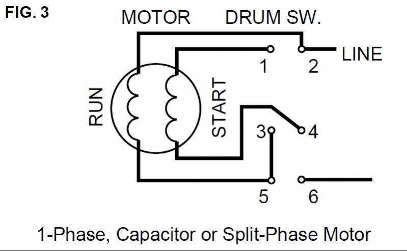 split phase motor to drum switch