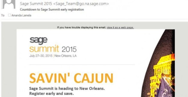 Sage Summit 2015 e-mail