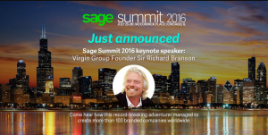 Screen capture announcing Richard Branson appearing at Sage Summit 2016