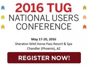 This is an image instructing readers to register now for the 2016 TUG National Users Conference.