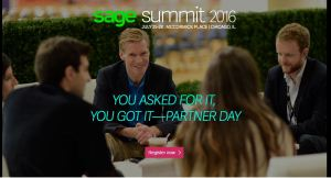 This is an advertisement for the return of Partner Day returning to Sage Summit.