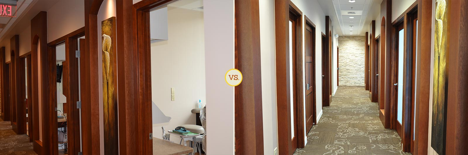 Side-by-side comparison of dental practice hallway photos