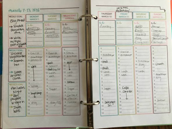 My planner when I first started my new schedule