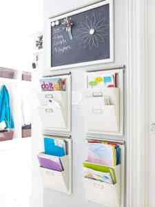 Wall files for school papers with chalkboard for notes