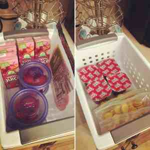 School lunches. Basket for the fridge, basket for a cupboard.
