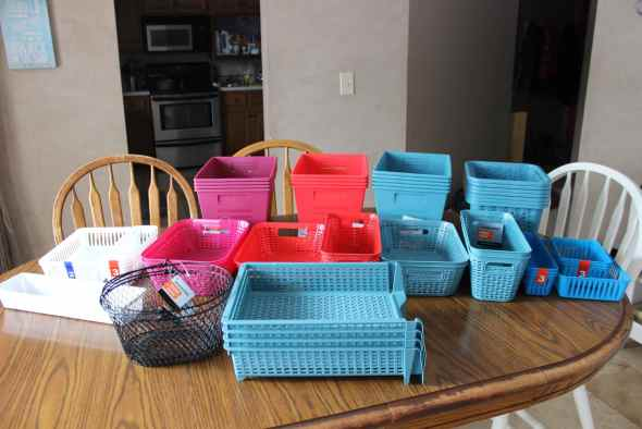 Organizing bins and baskets from Dollar Tree