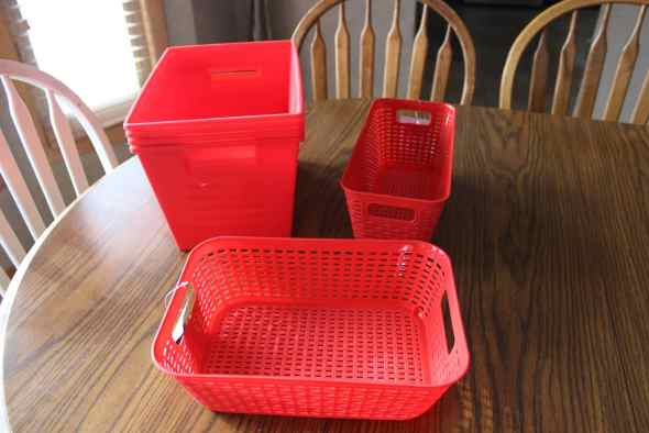 Red organizing bins from Dollar Tree