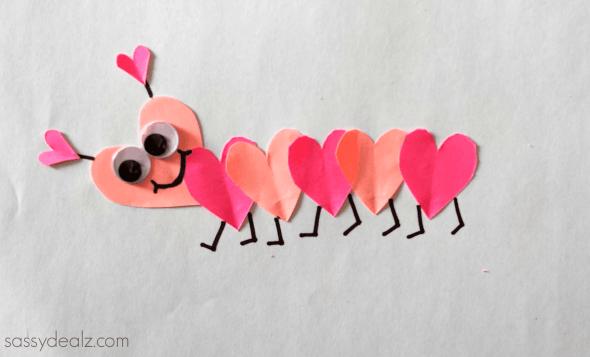 Heart Caterpiller craft