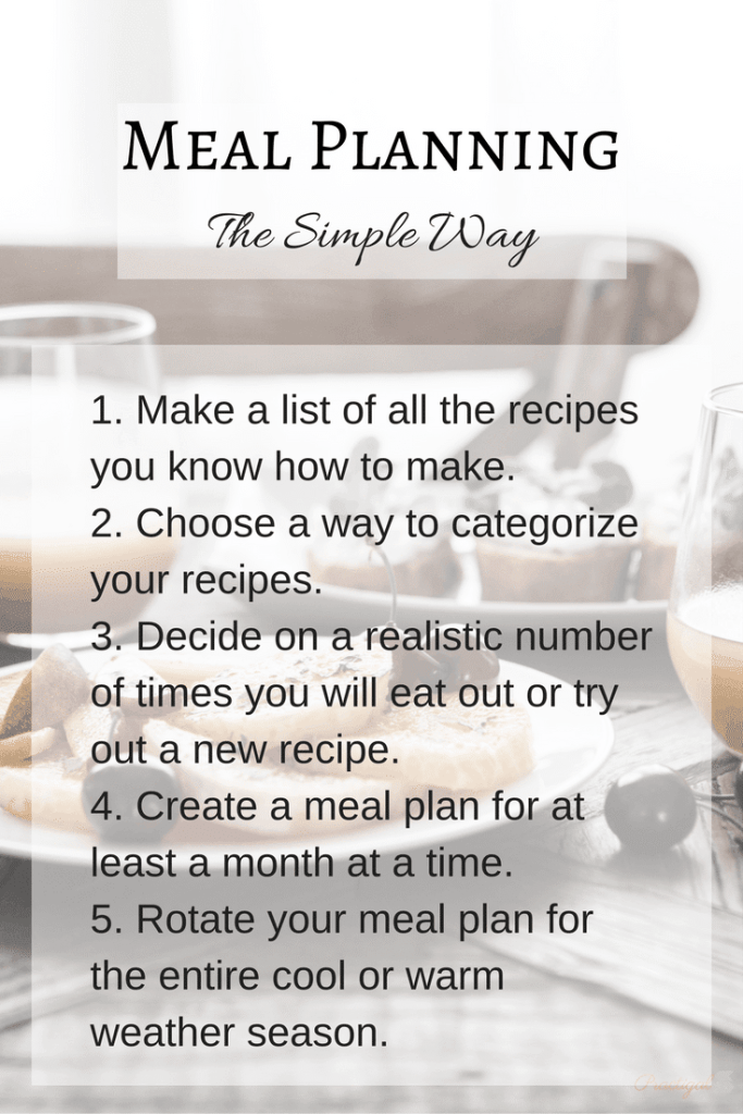 There is such a thing as simple meal planning! Find out how to easily create a meal plan for two months and repeat them throughout the current season. ~Practigal Blog