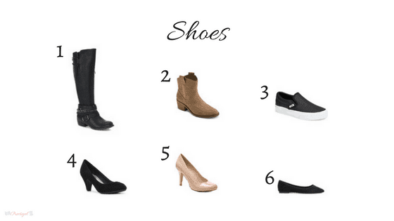 Shoes in my 2018 winter capsule wardrobe. Includes black, gray, white, chambray, blush, burgundy, red, and olive green. Wardrobe for the work-at-home-mom.