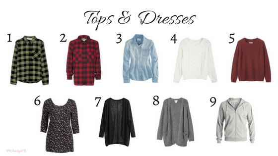 Tops and dresses in my 2018 winter capsule wardrobe. Includes black, gray, white, chambray, blush, burgundy, red, and olive green. Wardrobe for the work-at-home-mom.