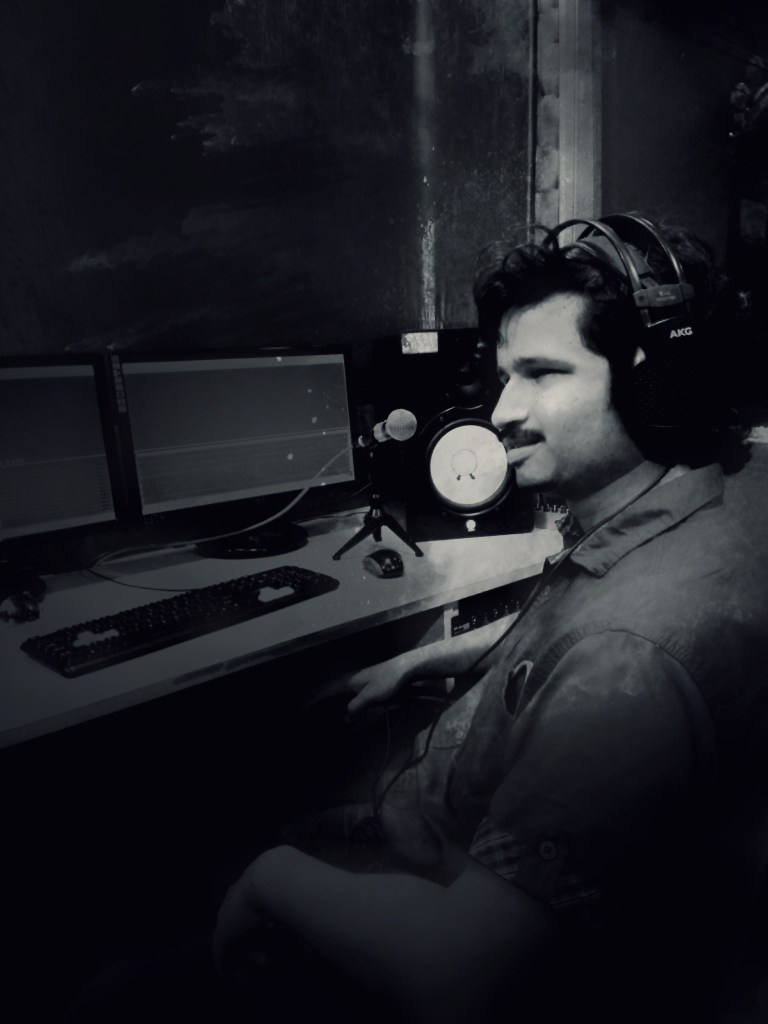 Pradip is working on the studio desk