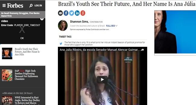 discurso forbes ana julia ribeiro estudante ocupação