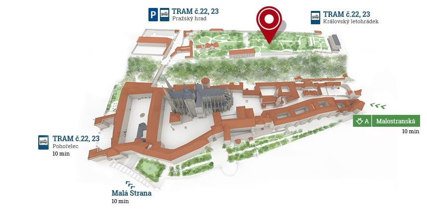 A map showing the actual festival area in the Prague Castle area