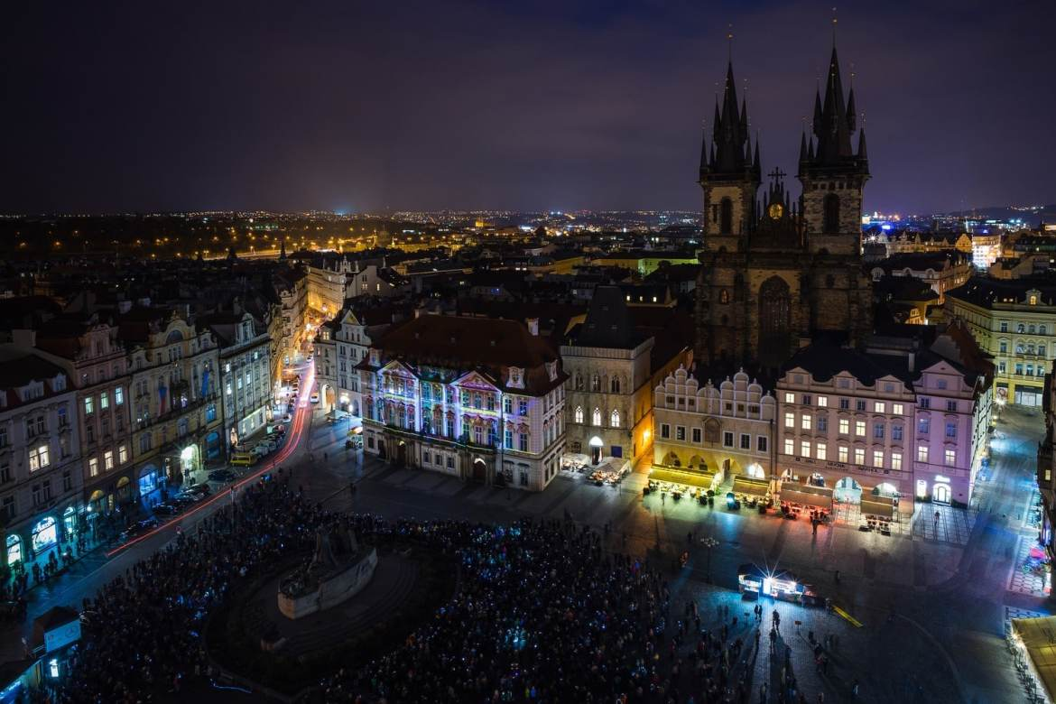 The Old Town Square in Prague during the Signal festival - Picture by Jan Tichy