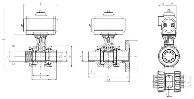 Praher 2-way Ball Valve M1 PVC-U Pneumatic Actuator