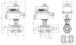 Praher 2-way Ball Valve M1 PVDF Electric Actuator Valpes