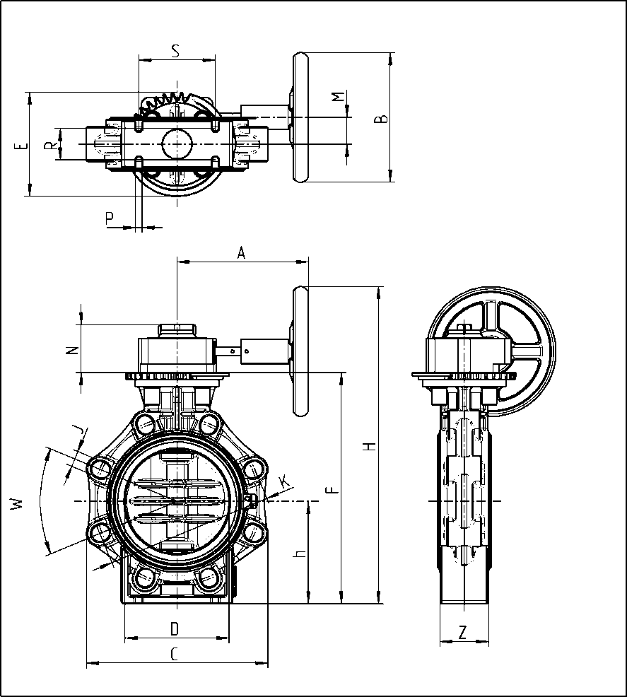 hight resolution of drawing butterfly valve k4 hand wheel lug type
