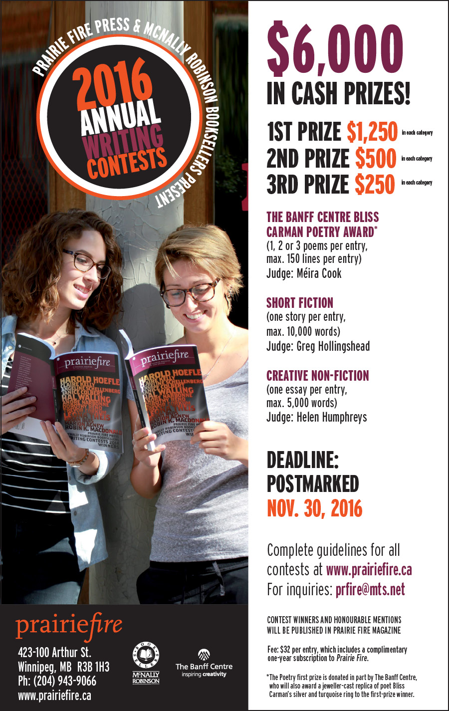 Creative nonfiction writing contests 2012